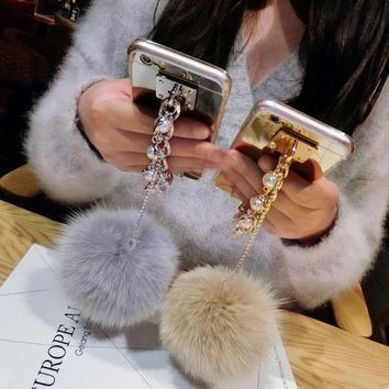 Dower Me Pearl Chain Real Fur Ball Mirror Case For Iphone X 8 6S 7 Plus 5S 4 Samsung Galaxy Note 8 5 4 3 S8/7/6 Edge Plus S5/4/3