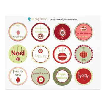 Christmas Baubles Cupcake Toppers in Red and Green