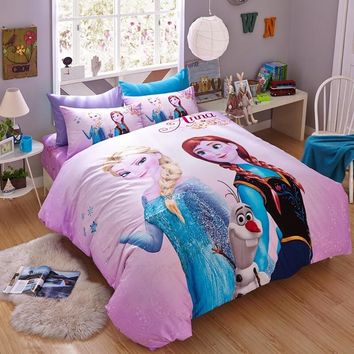 DISNEY 100% Cotton Pink Frozen Bedding Set Cartoon Duvet Cover Sheet Set Single Queen Size For Children Beddings