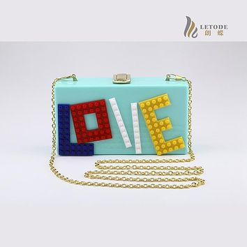 Women Clutch Evening Bag acrylic Love Letter Wedding Party Fashion Handbags Chain Shoulder Bag Totes Messenger Bags Box Purse