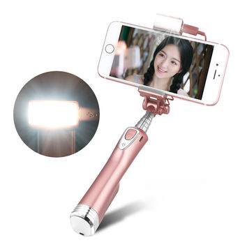 Ulanzi Selfie Stick with Rear Mirror led Light and Bluetooth Remote Shutter Monopod Fill Light for iPhone Samsung Android Phones