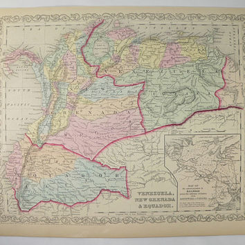 Old Venezuela Map, Panama New Grenada Map Ecuador 1858 Mitchell DeSilver Map South America, Gift for Traveler, Anniversary Gift for Husband