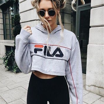 FILA Casual Long Sleeve Hooded Crop Top Sweater Pullover Hoodie