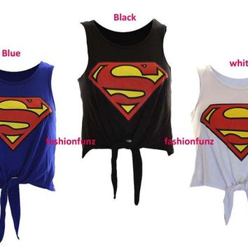 WOMENS LADIES COMIC BATMAN SUPERMAN PRINT TIE UP CROP VEST TOP 8-14