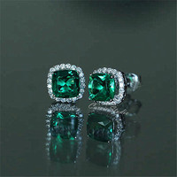 6mm Cushion Emerald Studs Lab Emerald Studs Emerald Jewelry Sterling Silver Birthday Present Anniversary Gift