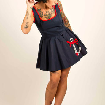 Full Circle Rockabilly Dress with Anchor Tattoo UK Size 8-16/US Size 4-12 Made to Order
