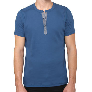 Mens Premium Casual Henley Shirt with Ribbed Slub Design