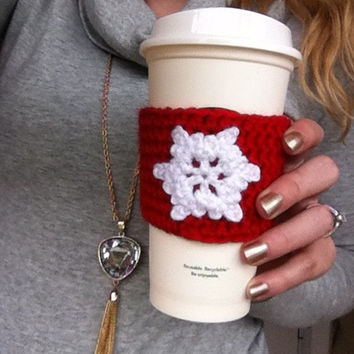 Crochet Snowflake Coffee Cozy