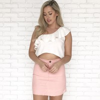 Pink Corduroy Mini Skirt
