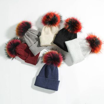 Adult Winter Caps Fashion High Quality Colorful Real Fur Ball Warm Winter Hat Caps for Women Ladies Female Girls' Fur Beanies