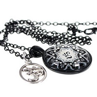 Ohm Glass Art Pendant with Ohm Charm 20 Inch Necklace