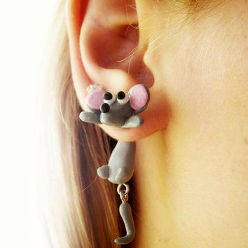fake gauge plug two part earrings mouse, Polymer clay, handmade
