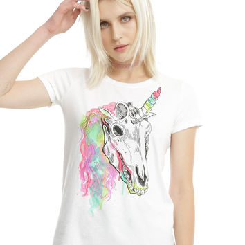 Rainbow Unicorn Skull Girls T-Shirt