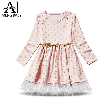 Girls Cute Long Sleeve Dress Princess Lace Cotton Polka Dots Dress Children Clothes Toddler Girls Clothing