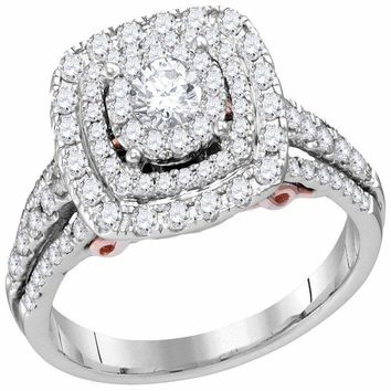 14kt White Gold Women's Round Diamond Solitaire Triple Halo Bridal Wedding Engagement Ring 1.00 Cttw - FREE Shipping (USA/CAN)