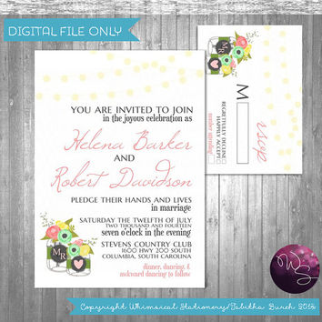 "Wedding Invite & RSVP Card ""Porch Lights Mason Jar White"" Collection (Printable File Only) Invite Response Card Wedding Invitation Printable"