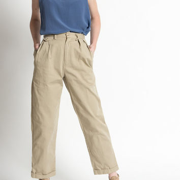 Vintage 90s High Waisted Ralph Lauren Cotton Khaki Trousers | 0/2