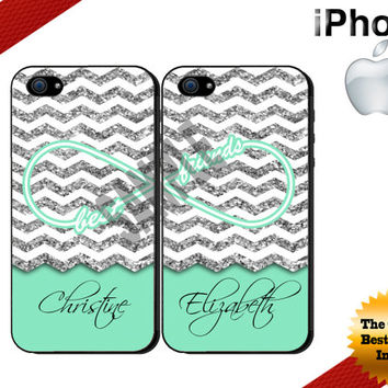 Best Friends iPhone Case - iPhone 5C Case or iPhone 4 Case - Infinity - Glittery Chevron Mint iPhone Cases Two Cases - NOT ACTUAL GLITTER