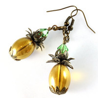 Glass Pineapple Earrings, Tropical Earrings, Golden Glass Earrings, Beach Jewelry, Antique Gold, Swarovski Crystal