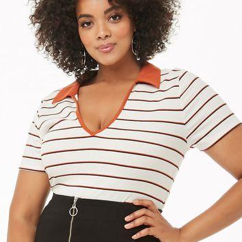 Plus Size Collared Ribbed Striped Top