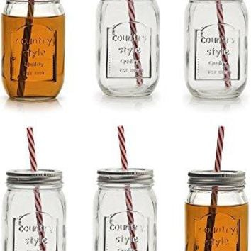 Circleware 67025 Country Mason Jar Mug Beverage Drinking Glasses with Metal Lids amp Straws 16 oz Mason Chalkboard Jars with Lids And Straws