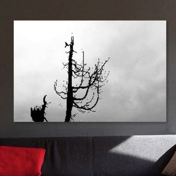 Wall Art Mounted Photo Print: Black and White Silhouette of Bird Perched on Tree Branch / Nature Art / Ready to Hang or Display (RMU031)