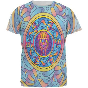 DCCKJY1 Mandala Trippy Stained Glass Jellyfish All Over Mens T Shirt