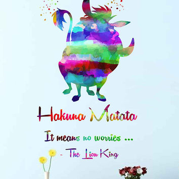 kcik2026 Full Color Wall decal Watercolor Character Disney Sticker Disney children's room Hakuna matata quote The Lion King Pumbaa