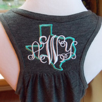Texas Monogrammed Ladies Racerback Tank Top