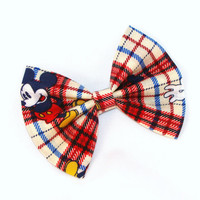 Mickey Mouse Plaid Hair Bow Vintage Inspired Hair Clip Rockabilly Pin up Teen Woman