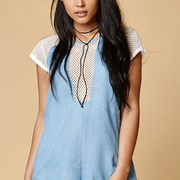 MinkPink Caught Out Chambray Mesh Romper at PacSun.com