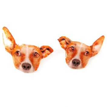 Realistic Jack Russell Terrier Face Shaped Animal Resin Stud Earrings | Made To Order | Handmade