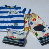 Baby boy t-shirt blue and white striped with car applique and white car trousers with striped turnups 9 to 12months