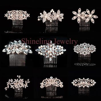 Elegant Art Deco Rose Gold Pearls Rhinestones Flower Wedding Hair Comb Crystal Bridal Hair Piece Hair accessories Bridesmaids