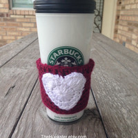 Crocheted Texas A and M Travel Mug Sleeve Maroon & White Team Coffee Cozy Coffee Accessories Tea Cozy Gift Idea College Coffee Cozy