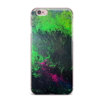 "Claire Day ""Acid Rain"" Green Black iPhone Case"