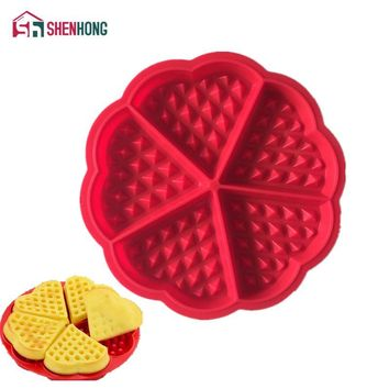 Heart Shape Waffle Mold 5-Cavity Silicone Oven Pan Baking Cookie Cake Muffin Cooking Tools Kitchen Accessories Supplies