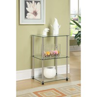Convenience Concepts 3 Tier Glass Square End Table