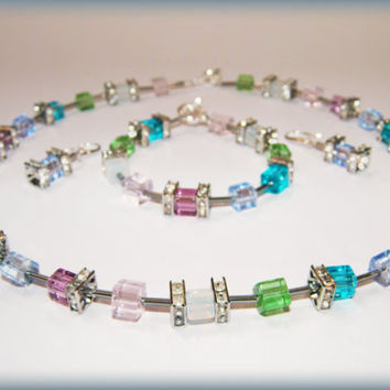 Springtime Necklace .. sparkly pastel glass beads in pink, green, blue, aqua, purple and opalite, with rhinestones and a toggle clasp