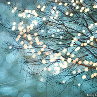 Nature Photography, Fantasy Teal Aqua Sparkling Trees, Twinkling Bokeh Sparkle Teal Aqua Nature Photo, Fantasy Sparkling Fairytale Nature