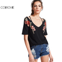 COLROVIE Vintage Strappy T-shirt Women Black Rose Patch Sexy V Neck Casual Summer Tops 2017 New Fashion Slim Embroidery T-shirt