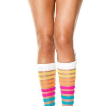 Rainbow Sheer Striped Short Leggings