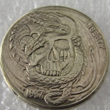 Type:#17 Hobo Nickel 1937-D 3-Legged Buffalo Nickel Rare Creative Skull Beauty With Gun Copy Coin High Quality