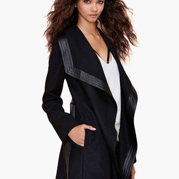 Black Robe Long Coat with Leather Accent