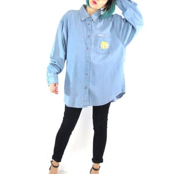 Vintage Long Sleeve Denim Blouse 90s Studded Collar Denim Shirt Gold Elephant Patch Chest Pocket Button Down Front Cute Animal Top (XL)