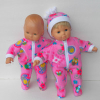 """Bitty Baby Doll Clothes Twin Girl or Baby Doll 15"""" American Girl Pink Owl Flower Print Polar Fleece CHOICE Pajama or Sleeper with hat"""