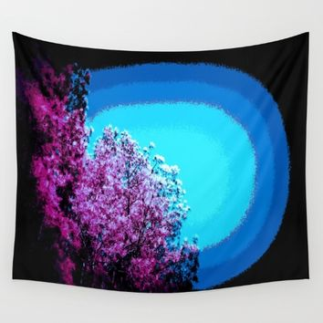 Mod Trees : Grape Purple & Blue Wall Tapestry by 2sweet4words Designs