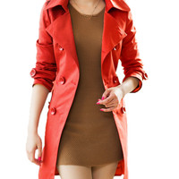 Notched Collar Waist Ribbon Belt Trench Coat