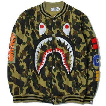 PEAPV9O BAPE SHARK Women/Men Fashion Long Sleeve Camouflage  Sweater Sweatshirt Coat