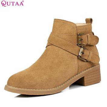 QUTAA 2018 Fashion Spring and Autumn Women Ankle Boots Zipper Suqare High Heel Round Toe Cow Suede Ladies Boots Size 34-40
